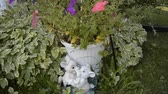 garden flowers : Small white lions garden decoration in flowers