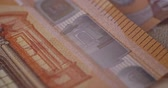 european currency : 50 euro banknote details close-up EUR currency Stock Footage