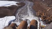 effluent : Industrial pipe discharging liquid waste Stock Footage