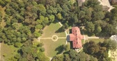 defensiva : Flying on drone over famous ukranian sights - palace and park ensemble Samchiki in the village of Samchiki, Ukraine