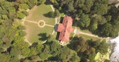 obranný : Flying on drone over famous ukranian sights - palace and park ensemble Samchiki in the village of Samchiki, Ukraine