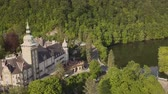 bastião : Aerial view to Lillafured Castle. Lillafured is one of the most beautiful natural environments, near Miskolc in the Eastern part of Bukk Mountains Vídeos