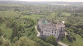 lviv : Aerial view from drone to the historic castle and park in Olesko - famous ukrainian sightseeing, Lviv region, Ukraine