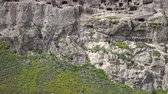 Aerial view of Vardzia Monastery - excavated from Mtkvari River, near Aspindza, Georgia