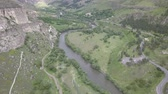 Aerial view to Mtkvari River near by Vardzia cave monastery, near Aspindza, Georgia