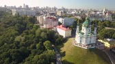 Aerial view to St. Andrews Church and Andriyivskyy Descent in capital of Ukraine