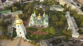 Aerial view to famous orthodox St. Sofia Cathedral at night Dostupné videozáznamy