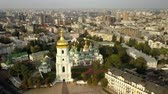 tarihi : Aerial view to famous orthodox St. Sofia Cathedral at night Stok Video