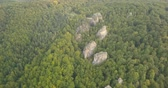 jaskinia : Aerial view of Dovbush Rocks in Bubnyshche Wideo