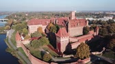 ziegel : Aerial view Malbork castle in Pomerania region of Poland. Teutonic Knights fortress of Marienburg.
