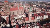 starověký : Aerial view from drone on St. Mary Cathedral and City Hall in Gdansk, Poland