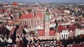 メリー : Aerial view from drone on St. Mary Cathedral and City Hall in Gdansk, Poland