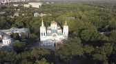 православный : Aerial view to Transfiguration Cathedral oldest building in Chernihiv, Ukraine, One of the few surviving buildings of pre-Mongol Rus