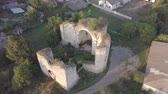 каменная стена : Aerial view to ruined Church of the Holy Trinity in Medzhybizh, Ukraine