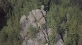 grot : Aerial view stone rocks Ternoshorska Lada amidst beautiful scenic Carpathian mountains and forest. Symbol of motherhood and fertility, Kosiv Region, Ivano-Frankivsk Oblast, Ukraine