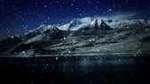 típico : Night mountain landscape with faux snow fall