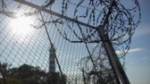 border : Barbed wire fence under sun focus in out.  Summer. Jail. Lighthouse background Stock Footage