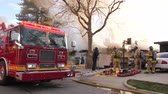 Fire Truck Near A House Fire Stock Footage