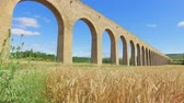 navarre : The Aqueduct of Noain built in 18th century near Pamplona, Navarra, Spain