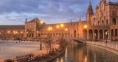 plaza de espana : Panorama of Plaza de Espana in the evening in Seville, Andalusia, Spain