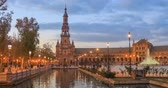 plaza de espana : North tower on Plaza de Espana in the evening in Seville, Andalusia, Spain