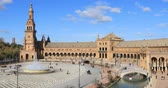 plaza de espana : Static view on Plaza de Espana in the day time in Seville, Andalusia, Spain