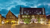 quedlinburg : City Hall of Quedlinburg on Markt square (static image with animated sky) Stock Footage