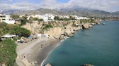 sol : View from balcon de Europa on Nerja beach, Nerja, Andalusia, Spain