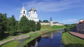 russian federation : View on Holy Trinity Cathedral located in Pskov Kremlin from bridge over Pskova river in Pskov, Russia Stock Footage