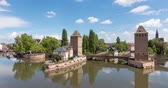 petite france : Panoramic time lapse video of Ponts Couverts in Strasbourg, France