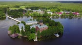 russian federation : Aerial view of Svyato-Vvedenskiy Ostrovnoy monastery located on the small island on Vvedenskoye lake in Pokrov, Vladimir oblast, Russia