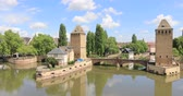 petite france : Panorama of Ponts Couverts bridge on sunny summer day in Strasbourg, France