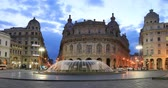 Genoa, Italy - December 01 2017: View of Piazza de Ferrari square in the morning with fountain on foreground