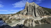 peculiar : Panoramic view of Rocher de la Baume - unusual shaped rock in Sisteron, Alpes-de-Haute-Provence, France