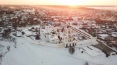 Aerial view of Vysotskiy monastery at sunrise in Serpukhov, Moscow Oblast, Russia