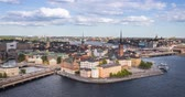 Aerial zoom in view on Riddarholmen (Knights island) in Stockholm, Sweden Stok Video