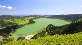 Panorama of Furnas lake (Lagoa das Furnas), Sao Miguel island, Azores, Portugal Stok Video