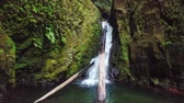 ilhas : Salto do Cagarrao Waterfall located on Prego river, Sao Miguel Island, Azores, Portugal