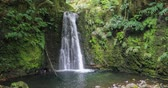 san miguel : Salto do Prego waterfall located on Prego river near Faial Da Terra, Sao Miguel Island, Azores, Portugal Stock Footage