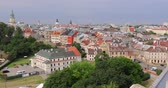 Aerial cityscape of Lublin with old colorful buildings, Poland