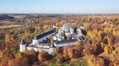 Aerial view on Savvino-Storozhevsky Monastery in autumn day, Zvenigorod, Moscow oblast, Russia