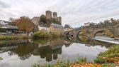 old time : Runkel Castle and old stone bridge across the Lahn river in Runkel, Hesse, Germany (panoramic time lapse video)