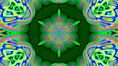 psychedelic pattern : Colorful green kaleidoscope Stock Footage