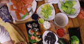 steady shot : Timelaps of making sushi Stock Footage