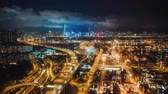 distributie : 4K hyperlapse time-lapse of Hong Kong port industrial district, highway traffic, and the city Symphony of light show on buildings. Asia developing country, logistic industry, or Asian tourism concept