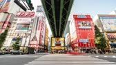 arcada : Tokyo, Japan - Nov 2, 2019: time-lapse of crowded people walking crossing road, car traffic transport at Akihabara. Tourist attraction, Japan tourism, Asia transportation or Asian city life. Zoom out