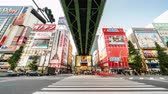 arcada : Tokyo, Japan - Nov 2, 2019: time-lapse of crowded people walking crossing road, car traffic transport at Akihabara. Tourist attraction, Japan tourism, Asia transportation or Asian city life. Tilt down