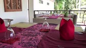 буфет : Table set in the restaurant on Bali island, 4K soft motion.