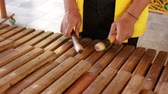 mallet : Asian Indonesian Balinese musician gamelan instrument. Closeup hands playing. Not edited, raw file. Stock Footage