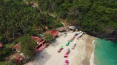 Stunning aerial drone video of tropical beach on the Bali island.